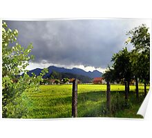 Fence at Countryside with Mountains Poster