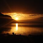 January sunrise over the Holy Isle from Isle of Arran  by clara  caulfield