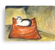 Kitten on Silk Cushion Canvas Print