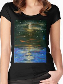Night Sky at Sea Women's Fitted Scoop T-Shirt