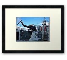 Helicopter on HMS Plymouth Framed Print