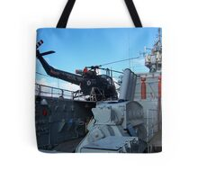 Helicopter on HMS Plymouth Tote Bag