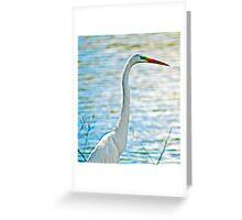 White Crane by Lake Greeting Card