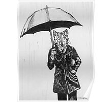 Wolf with Umbrella Poster