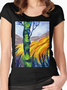Bracken in the Woods, Peak District, Derbyshire Women's Fitted Scoop T-Shirt