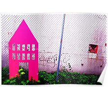 Pink Wooden House Poster