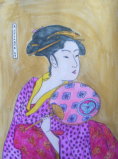 Geisha with a Fan by Alexandra Felgate