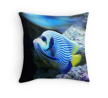 blue fish and a blurr Throw Pillow
