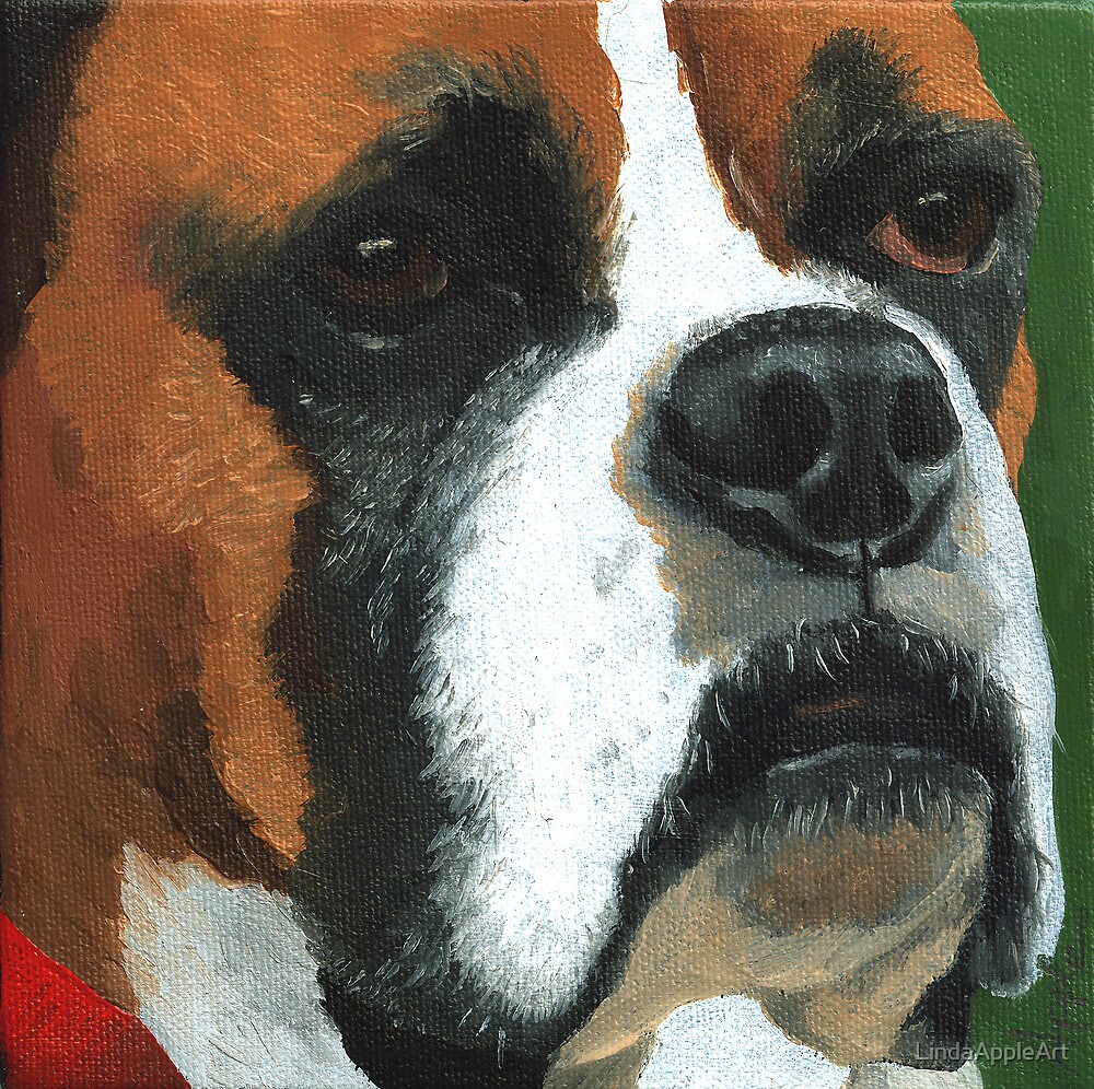 Ronald - dog portrait painting by LindaAppleArt
