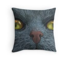 Cat Visions - cat portrait oil painting  Throw Pillow
