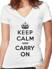 KEEP CALM AND CARRY ON (BLACK) Women's Fitted V-Neck T-Shirt