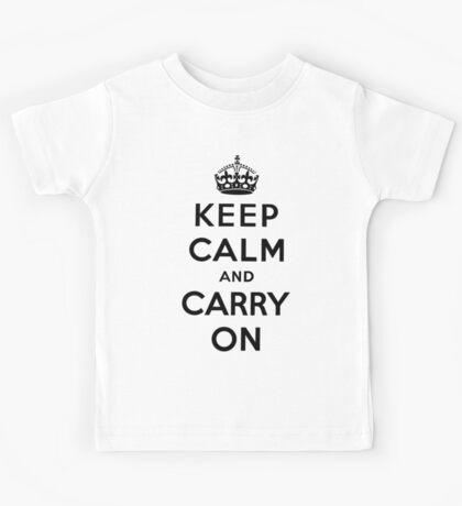 KEEP CALM AND CARRY ON (BLACK) Kids Tee