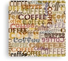 Seamless pattern with coffee typographical  Canvas Print
