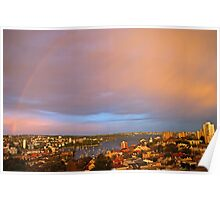 Rainbow Over Sydney at Sunset Poster