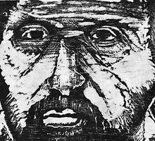 self portrait in woodcut by Anthony DiMichele