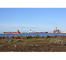 Ships and Oil Rig , Corio Bay, Geelong Photographic Print