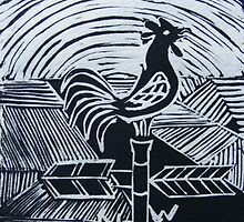 Wake up call.  (Lino print) by Esther's Art and Photography