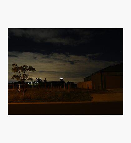 Quiet Suburb at Night Photographic Print