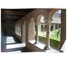 Romanesque cloister gallery and herb garden - Utrecht Poster