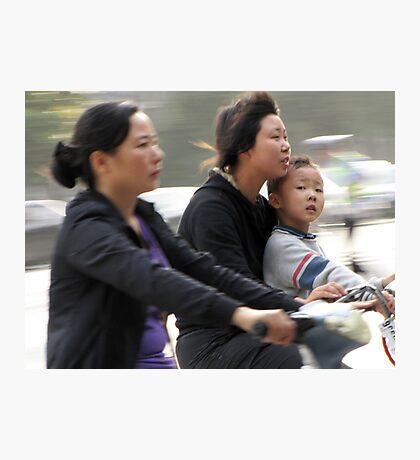 Cyclists, Yangzhou, China Photographic Print