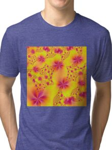 Pink Abstract Flowers on Yellow Tri-blend T-Shirt