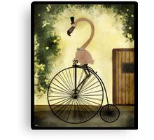 Penny Farthing Flamingo Canvas Print
