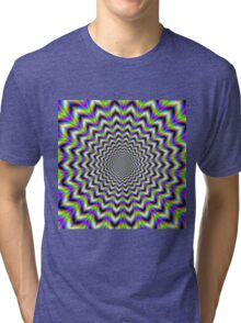 Psychedelic Star in Yellow Pink Blue and Green Tri-blend T-Shirt