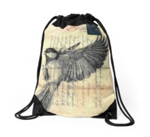 A bonnet with a lofty plume and on his breast a plaid Drawstring Bag