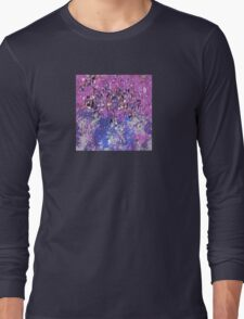 Decorative Abstract in Pink and Blue with Black Accents Long Sleeve T-Shirt