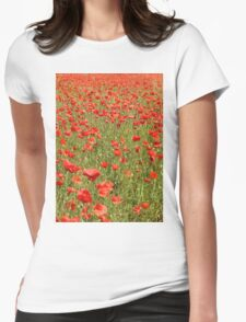 Tuscan Poppy Field. Womens Fitted T-Shirt