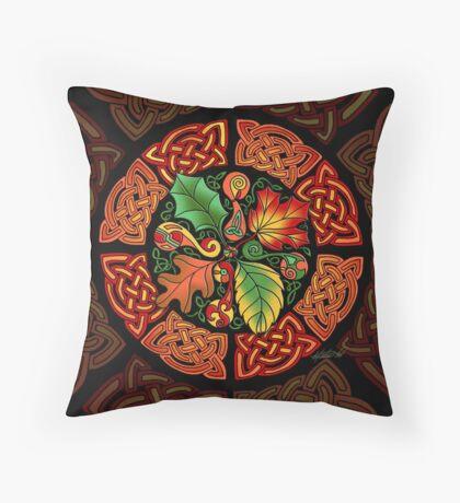 Celtic Autumn Leaves Throw Pillow