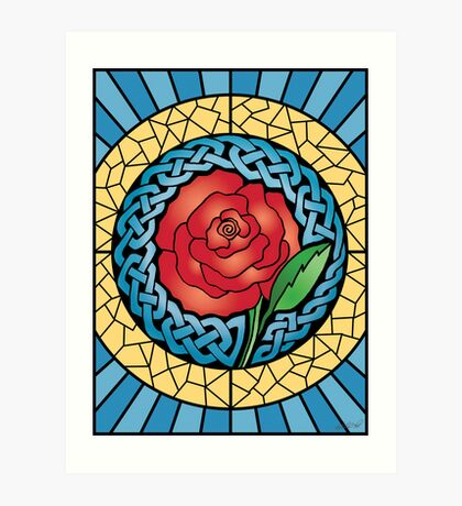 Celtic Rose Stained Glass Art Print