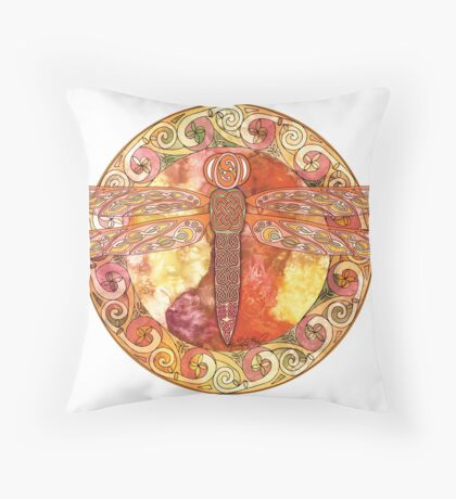 Hot Celtic Dragonfly Throw Pillow