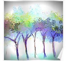 Beautiful Tree Design in Greens, Blues, and Purples Poster