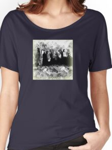 Abstract Black and White with People Design Women's Relaxed Fit T-Shirt