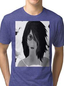 Sun Burn Black And White Tri-blend T-Shirt