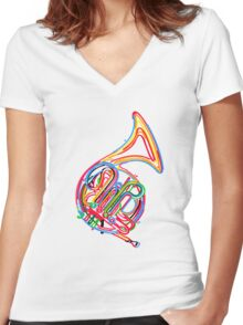 French horn Women's Fitted V-Neck T-Shirt
