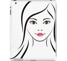 Woman with green eyes line art iPad Case/Skin