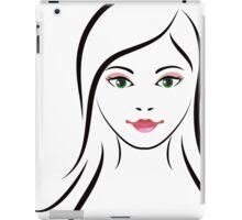 Woman with green eyes line art iPad Case/Skin