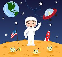 Friends in space cute cartoon wall art with boy astronaut and friendly aliens by Mhea