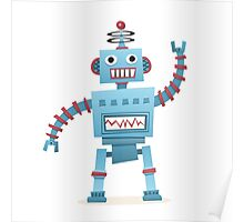 Cute and fun retro robot Poster