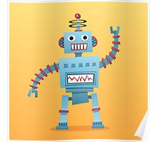 Cute and fun retro robot Poster