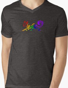Rainbow Tribal Cat Mens V-Neck T-Shirt