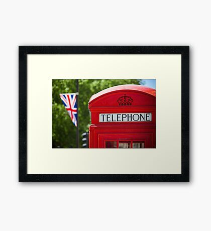 Red Phone Booth in London Framed Print