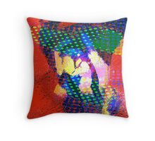 two faced polka dotted bandit... an abstract Throw Pillow