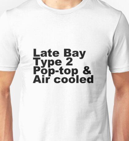 Late Bay Type 2 Pop Air Black Unisex T-Shirt