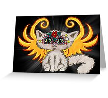 Cute cat fairy art, Day of the Dead Greeting Card