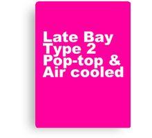 Late Bay Type 2 Pop Air White Canvas Print