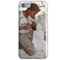 a boy chisels in workshop of Buddha Statues iPhone Case/Skin