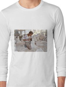 a boy chisels in workshop of Buddha Statues Long Sleeve T-Shirt